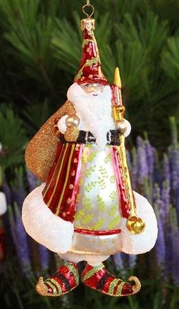 Patience Brewster Candlelight Red Santa Glass Ornament