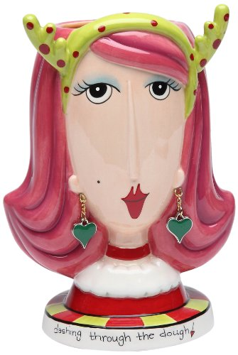 Appletree Design 62653 Christmas Lady Make-Up Holder Figurine, 4-1/4 by 5-7/8 by 3-7/8-Inch