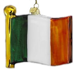 Luck of the Irish Noble Gems Glass Tricolor Flag of Ireland Christmas Ornament