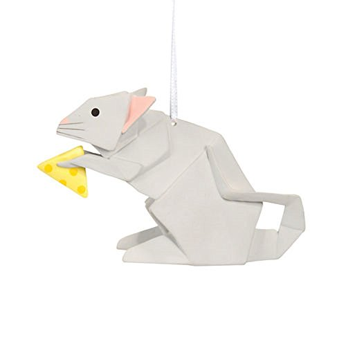 Porcelain Origami Mouse with Cheese Christmas or Spring Ornament, Gift Boxed, 2.5 Inches, White