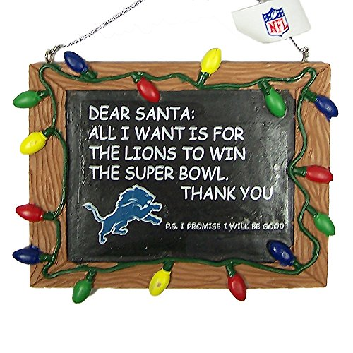 Detroit Lions Official NFL 3 inch x 4 inch Chalkboard Sign Christmas Ornament