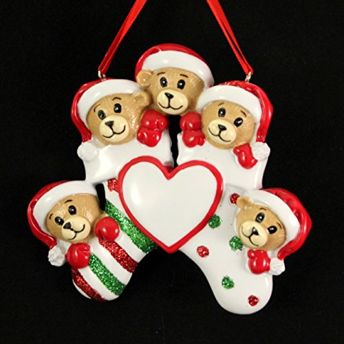 Personalized Bear Family 5 Members Christmas Holiday Gift Expertly Handwritten Ornament