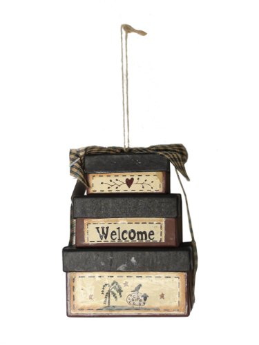 CWI Gifts Welcome Stack Box Ornament, 2.75 by 4-Inch