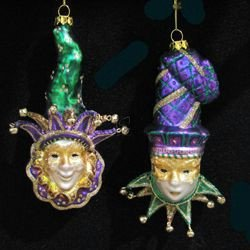 Noble Gems Glass Mardi Gras Mask Ornament Set