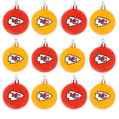 NFL Ball Ornament (Set of 12) NFL Team: Kansas City Chiefs