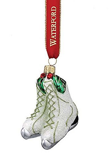 Waterford Holly Glitter Ice Skates Ornament