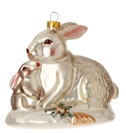 4″ Enchanted Forest Glittered Mother and Baby Rabbit Glass Christmas Ornament