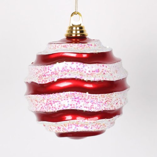 Vickerman 338193 – 6″ Red / White Candy Glitter Wave Ball Christmas Tree Ornament (M132073)