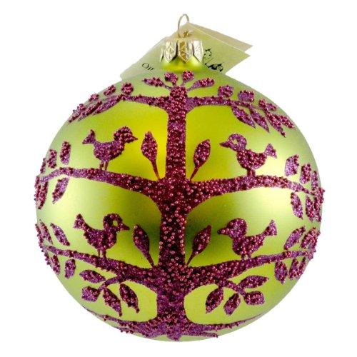 Christina's World RETRO TREE ON LIME Blown Glass Ornament Ball Christmas GAR 865