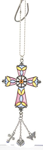 Orange Blue & Purple Stained Glass Cross Ornament by Ganz