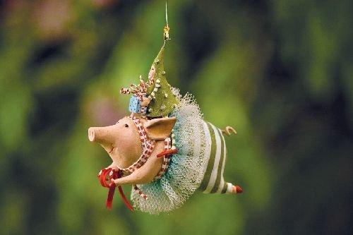 Joyful Flying Pig Ornament, 09-01291