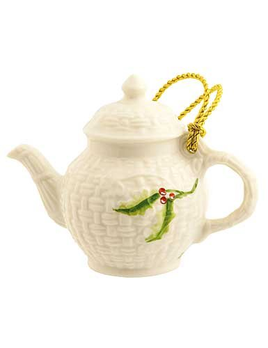 Belleek 4143 Miniature Teapot Ornament, 3.5-Inch, White
