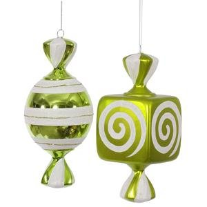 Vickerman Christmas Trees O132013 2-Piece Fat Candy Ornament Set, 8-Inch, Lime/White