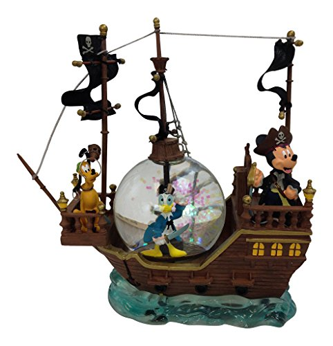 Disney Pirate Mickey Donald & Pluto Black Pearl Snow Globe