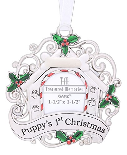 "Ganz 3"" Silver Tone Pets 1st Christmas Ornament (""Puppy's 1st Christmas"" with Picture)"