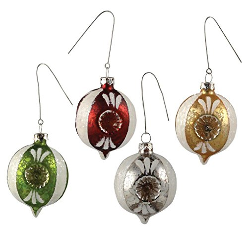 Bethany Lowe Indent Ornaments, 4 Colors in Set