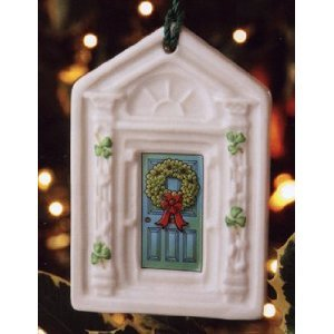 Belleek Dublin Doorway Sky Blue Ornament, 3.5″