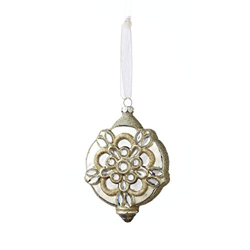 Sage & Co. XAO16929WH Glass Medallion Ornament, 4.5-Inch