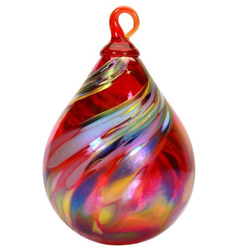 Glass Eye Studio Hand Blown Glass Raindrop Ornament – Holiday Swirl