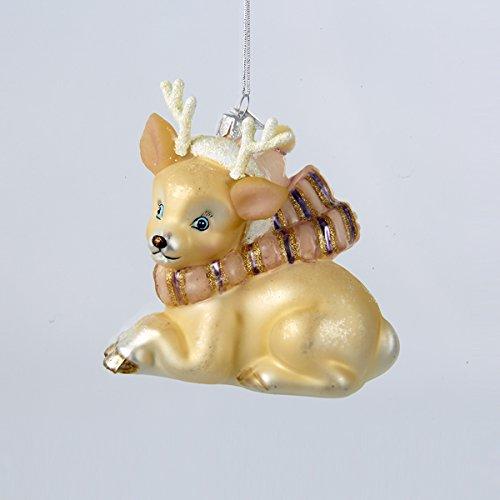 Kurt Adler 4.5″ Noble Gems Glass Ivory Deer Ornament