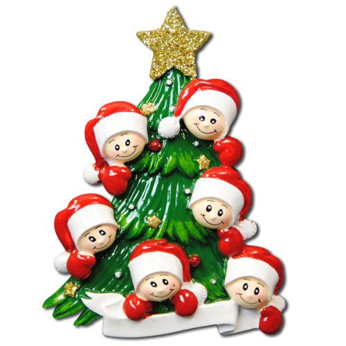 1 X Christmas Tree with 6 Faces Personalized Christmas Ornament