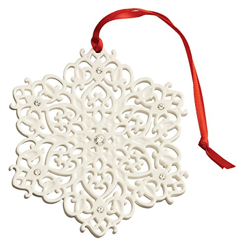 Belleek 7526 Snowflake with Gems, 3.3-Inch, White