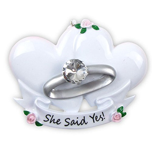 Engagement Ring Marry Me Personalized Christmas Tree Ornament