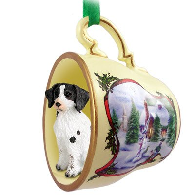 Brittany Liver & White Spaniel Tea Cup Snowman Holiday Ornament