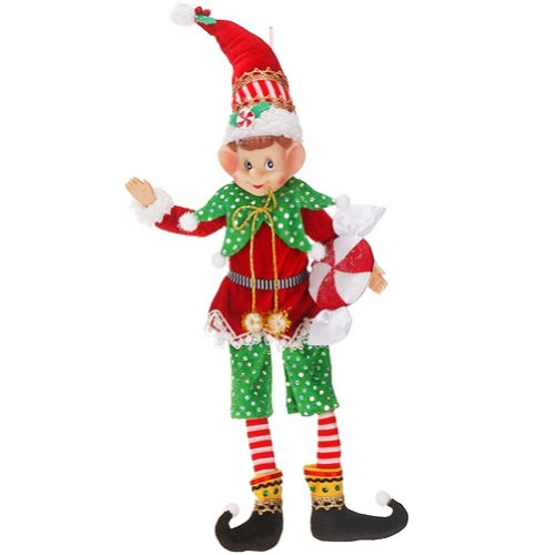 Mary Engelbreit Elf Ornament Green Pants w Candy 36-34280-B