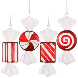 Vickerman Christmas Trees O127001 4-Piece Candy Ornament Set, 6-Inch, Red/White