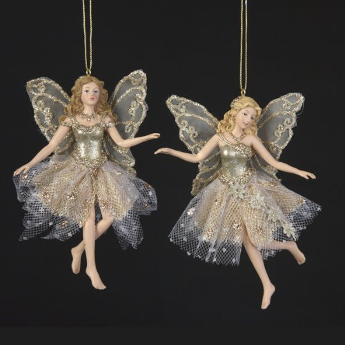 Kurt Adler Resin Platinum Fairy Ornament Pair, 5-Inch