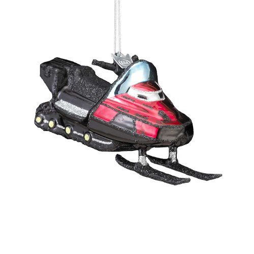 Noble Gems Glass Snowmobile Ornament, 4.75-Inch