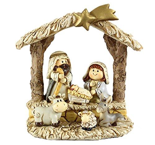 Christmas Child Nativity Set – Mary Joseph Jesus with Animals – Resin
