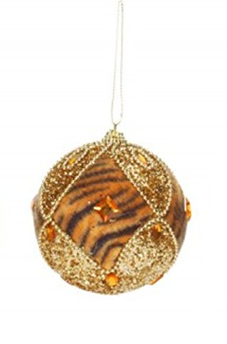 3.25″ Diva Safari Tiger Print and Gold Diamond Pattern Christmas Ball Ornament (80mm)