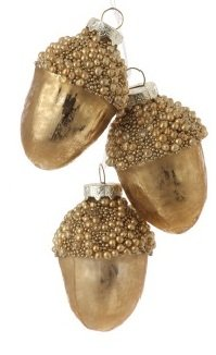 6″ Eco Country Copper and Gold Beaded Glass Acorn Cluster Christmas Ornament