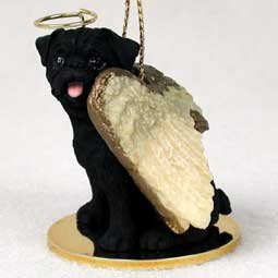 1 X Pug Angel Dog Ornament – Black