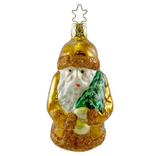 Inge Glas FOREST BELSNICKEL SANTA Blown Glass Ornament Christmas Tree 217505