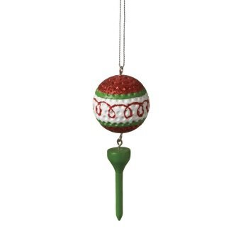Red Swirled Golf Ball and Tee Dangle Christmas Ornament