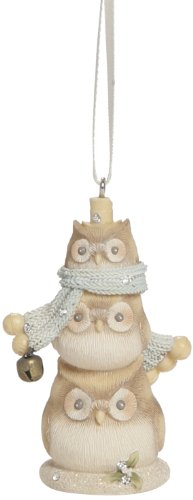 Enesco Foundations Gift Owl Snowman Ornament, 2.76-Inch