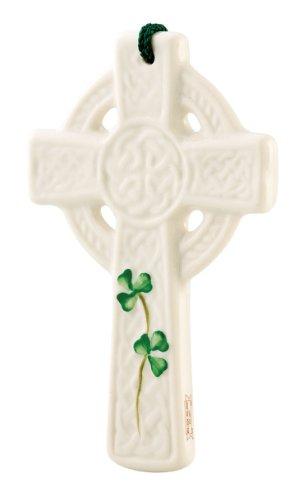 Belleek 3517 St. Kieran's Celtic Cross Ornament, 3.5-Inch, White