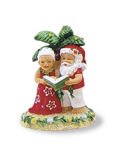 Hawaiian Caroling Clauses Christmas Ornament with Singing Santa & Mrs. Claus