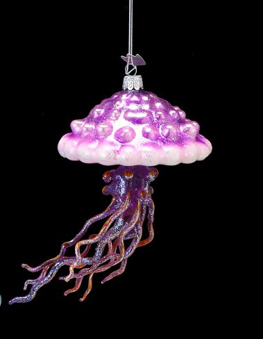 5″ Under the Sea Noble Gems Pink and Purple Jellyfish Glass Christmas Ornament