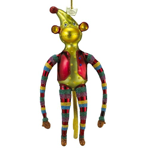 Kurt Adler Noble Gems Glass Monkey Ornament, 6.5-Inch