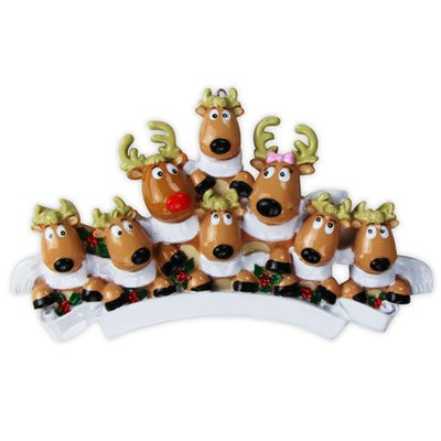Reindeer Family of 8 with Scarves Personalized Christmas Ornament