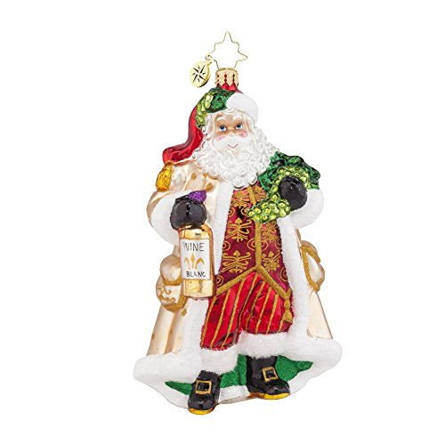 Christopher Radko Off the Vine Blanc Santa Glass Christmas Ornament – 6″h.