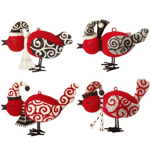 RAZ Imports – FLOCKED BIRD ORNAMENTS – (SET OF 4)