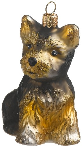 Yorkie Dog Christmas Ornament (Tan/Black) created by European artisans for ORNAMENTS TO REMEMBER