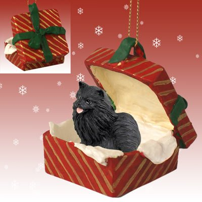 Conversation Concepts Pomeranian Black Gift Box Red Ornament