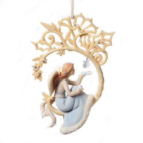 Enesco Foundations Angel with Star Ornament, 4.25-Inch