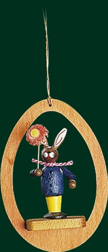 Hanging Christmas Tree Ornament Bunny with Flower, 3.4 Inches